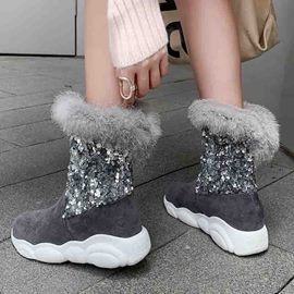 Ericdress Sequin Color Block Round Toe Slip-On Women's Snow Boots
