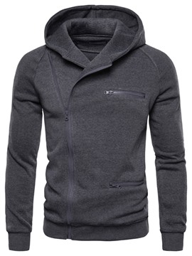 ericdress zipper plain cardigan herren slim hoodies