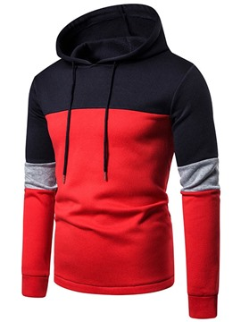 Ericdress Color Block Regular Pullover Men's Slim Casual Hoodies