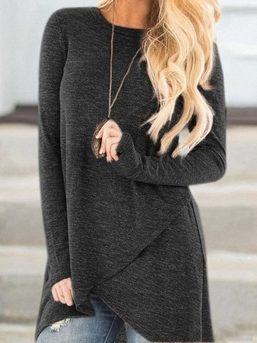 Ericdress Mid-Length Long Sleeve Round Neck Straight Casual T-Shirt