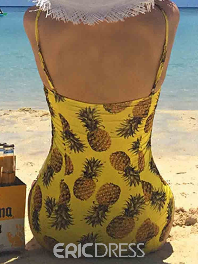 Ericdress Pineapple Color Block Print Sexy Swimwear
