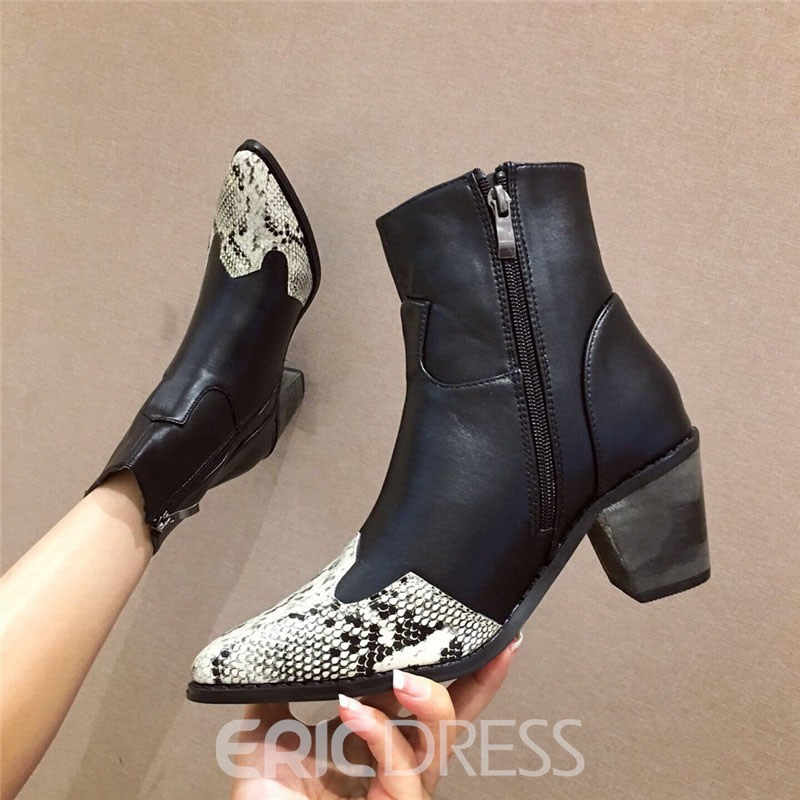 Ericdress Serpentine Chunky Heel Pointed Toe Color Block Women's Boots
