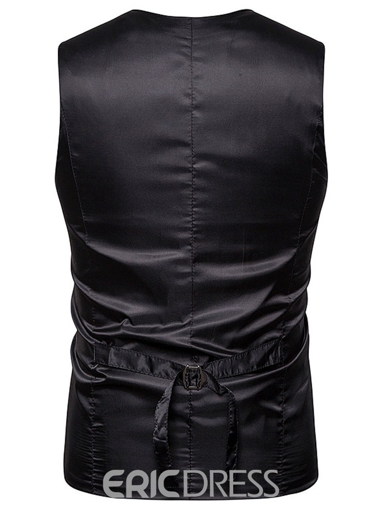 Ericdress Patchwork Color Block V-Neck Double-Breasted Men's Waistcoat