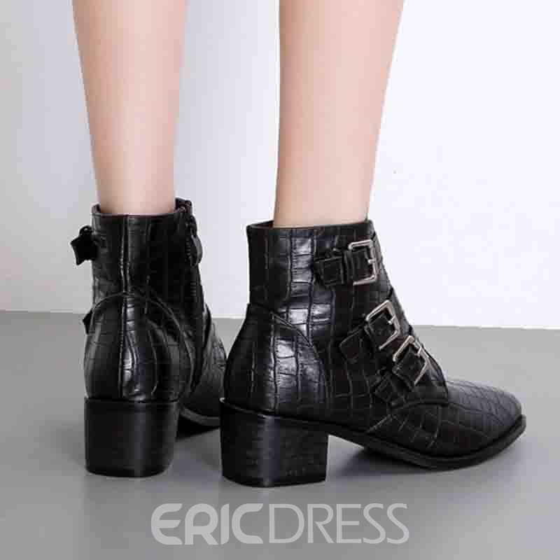Ericdress Pointed Toe Zipper Chunky Heel Women's Ankle Boots