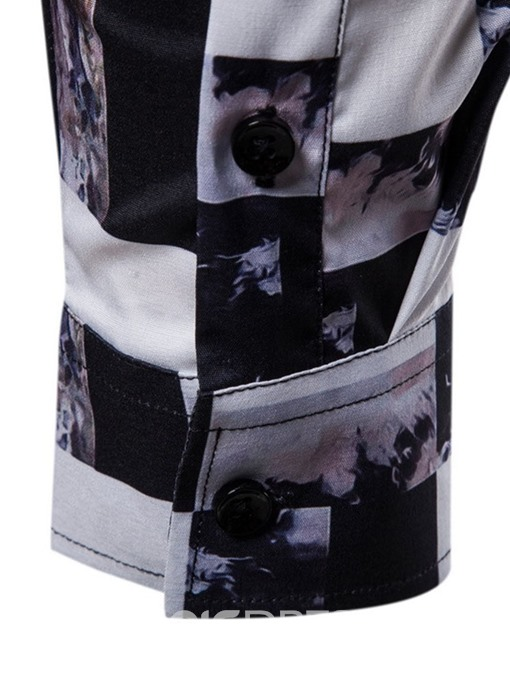 Ericdress Casual Lapel Color Block Spring Single-Breasted Men's Shirt