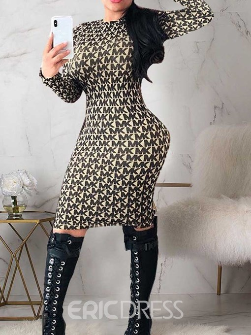 Ericdress Round Neck Print Long Sleeve Pullover Bodycon Dress
