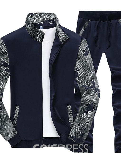 Ericdress Zipper Color Block Men's Sports Suits