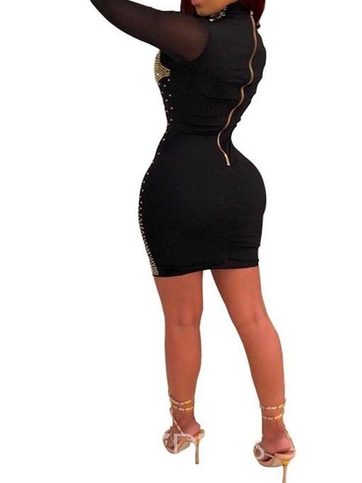 Ericdress Long Sleeve Turtleneck Above Knee Regular Bodycon Dress