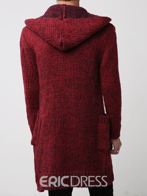 Ericdress Pocket Plain Hooded Loose Men's Casual Sweater