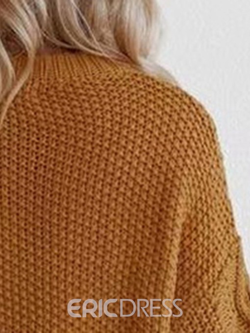 Ericdress Hollow Regular Lantern Sleeve Long Sleeve Round Neck Sweater