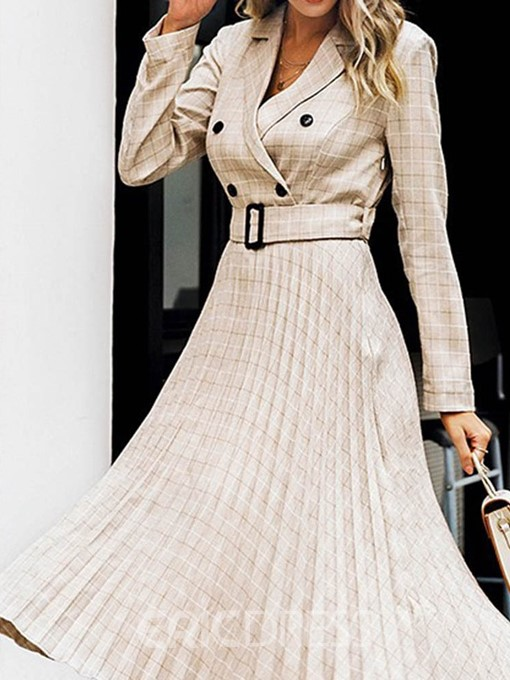Ericdress Long Sleeve Mid-Calf Notched Lapel Fall Pleated Dress