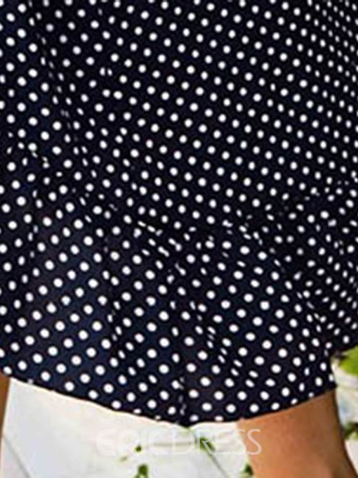 Ericdress Plus Size Bow Collar Asymmetric Mid-Calf Regular Polka Dots Dress