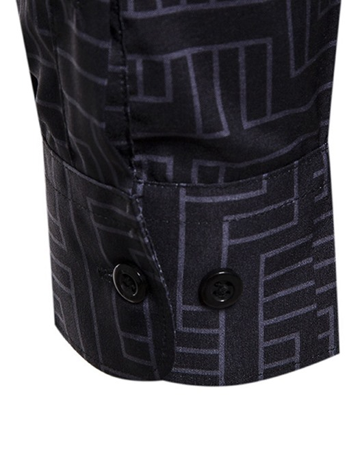 Ericdress Color Block Print Spring Single-Breasted Men's Shirt
