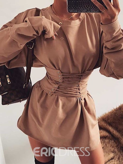 Ericdress Lace-Up Above Knee Long Sleeve Fashion Casual Dress