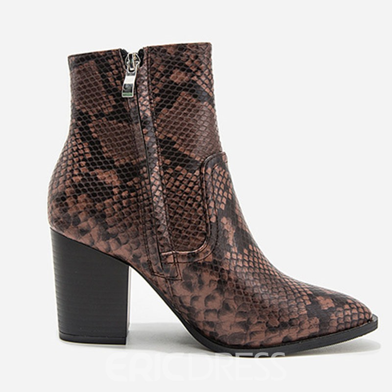 Ericdress Serpentine Chunky Heel Pointed Toe Side Zipper Women's Boots