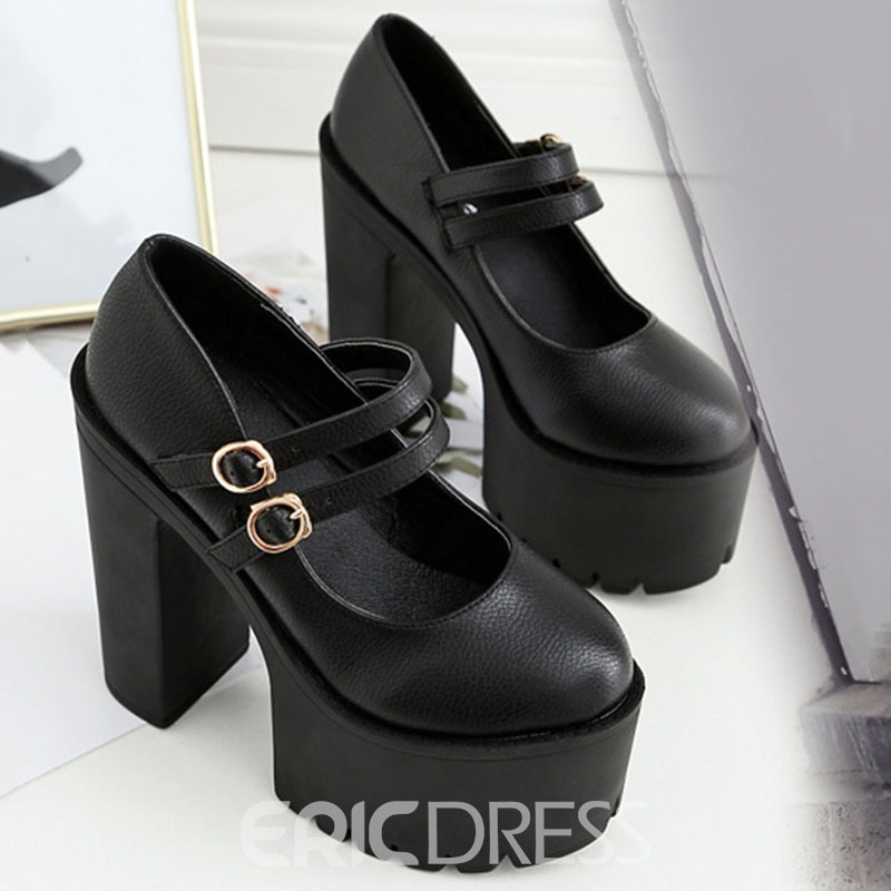 Ericdress Buckle Round Toe Chunky Heel Sexy Women's Pumps