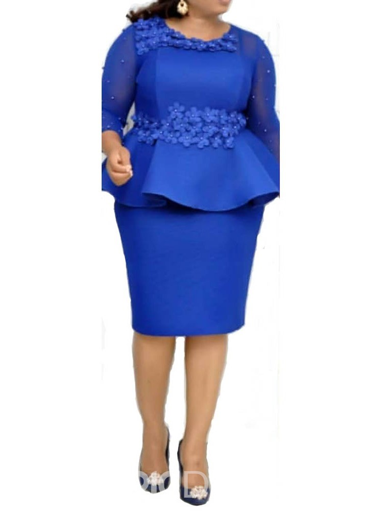 Ericdress Plus Size Mid-Calf Bead Round Neck Fall Floral Dress