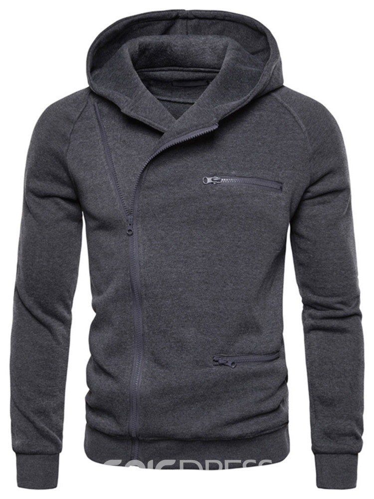 Ericdress Zipper Plain Cardigan Men's Slim Hoodies