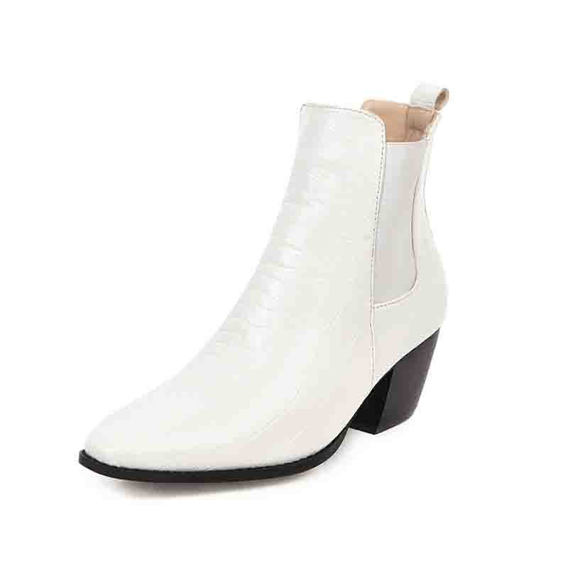Ericdress PU Chunky Heel Slip-On Pointed Toe Women's Ankle Boots