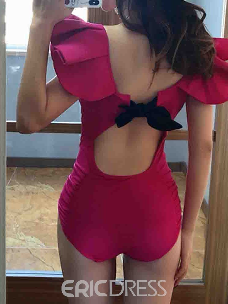 Ericdress Pleated Plain Lace-Up One Piece Swimwear