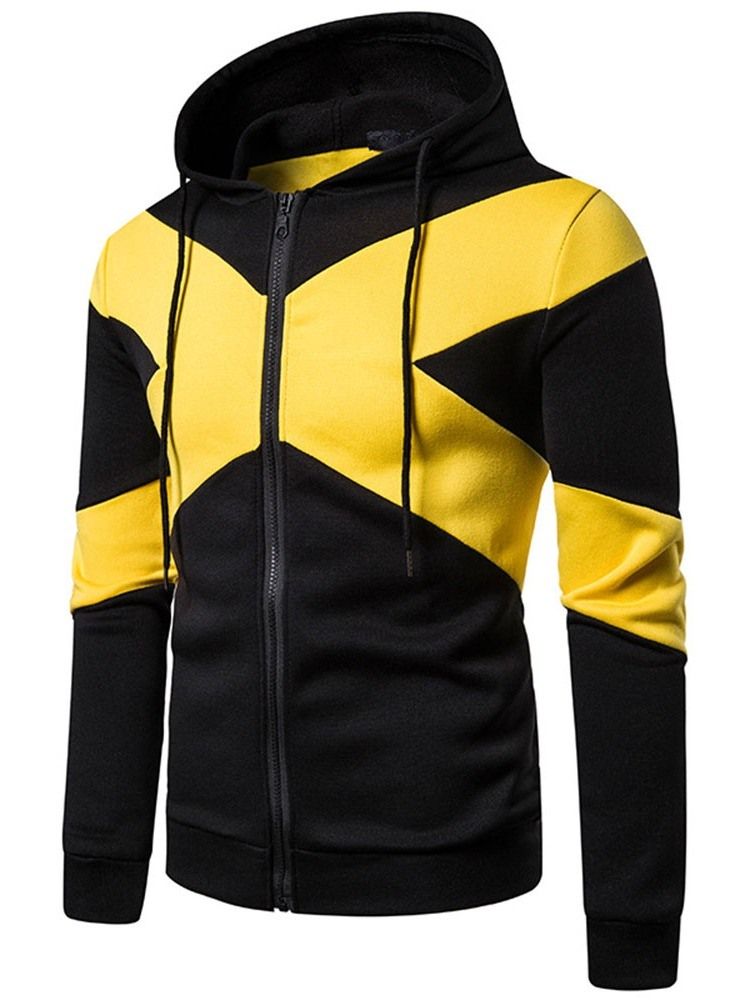 Ericdress Zipper Color Block Regular Men's Slim Hoodies