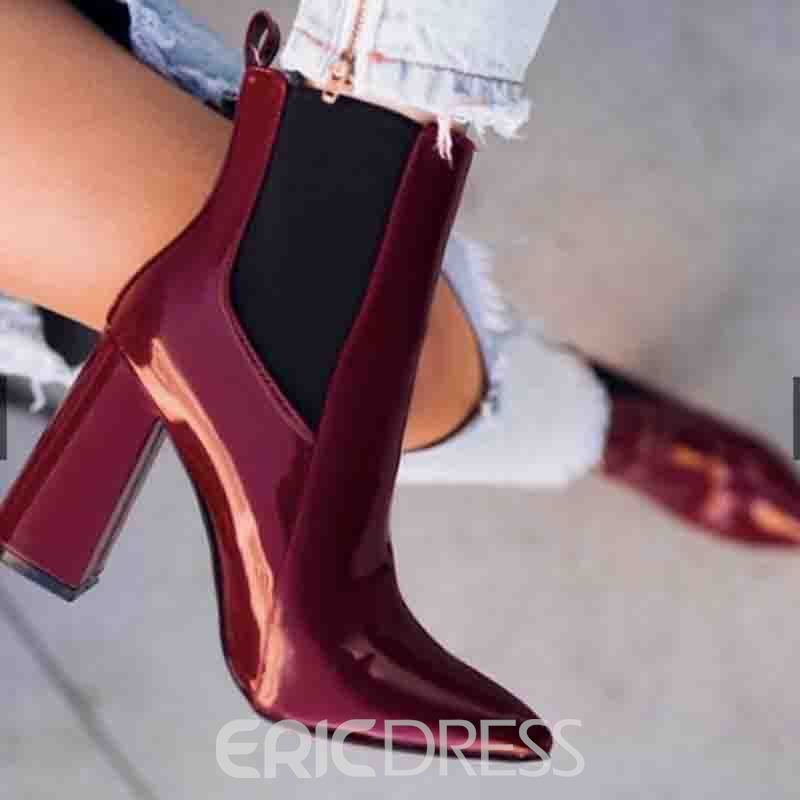 Ericdress Patchwork Side Zipper Pointed Toe Chunkhy Heel Women's Ankle Boots