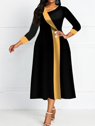 Ericdress Oblique Collar Three-Quarter Sleeve Mid-Calf A-Line Pullover Dress фото