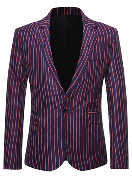 Ericdress Notched Lapel Stripe One Button Men's Leisure Blazers