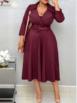 Ericdress Notched Lapel Mid-Calf Three-Quarter Regular Pullover Dress