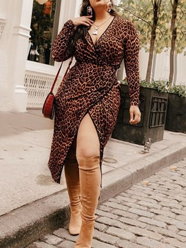 Ericdress Long Sleeve Split Mid-Calf High Waist Leopard Dress
