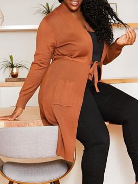 Ericdress Thin Lace-Up Lace-Up Long Sleeve Mid-Length Plus Size Sweater