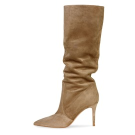 Ericdress Plain Slip-On Pointed Toe Women's Calf High Boots