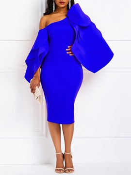 Ericdress Mid-Calf Split Long Sleeve Bodycon Plain Dress