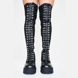 Ericdress Side Zipper Plain Round Toe Over-The-Knee Boots