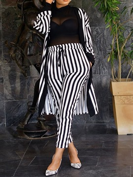 Ericdress Stripe Coat And Pants Two Piece Sets