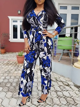 Ericdress African Fashion Dashiki Full Length Print High Waist Slim Jumpsuit