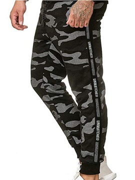 Ericdress Camouflage Patchwork Mid Waist Lace-Up Men's Casual Pants