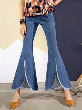 ericdress bellbottoms jean slim taille haute uni lavable