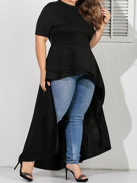 Ericdress Plus Size Plain Long Short Sleeve Blouse