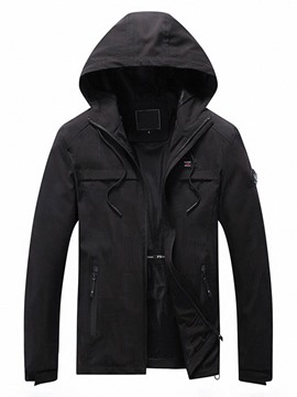 Ericdress Hooded Thick Plain Men's Slim Jacket