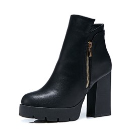 Ericdress Side Zipper PU Round Toe Women's Boots