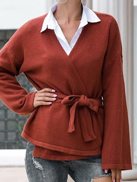 Ericdress Flare Sleeve Thin V-Neck Fall Sweater