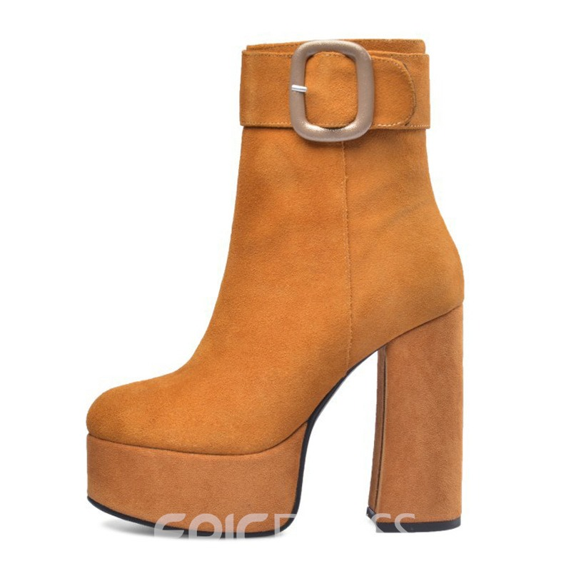 Ericdress Round Toe Chunky Heel Side Zipper Women's Ankle Boots
