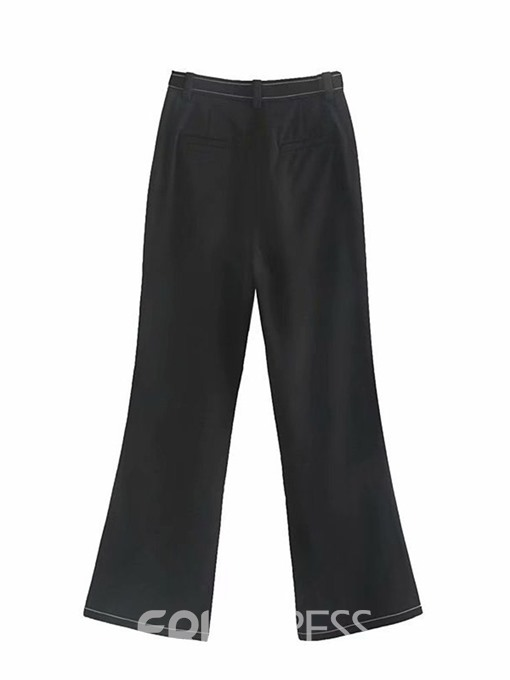 Ericdress Slim Bellbottoms High Waist Casual Pants