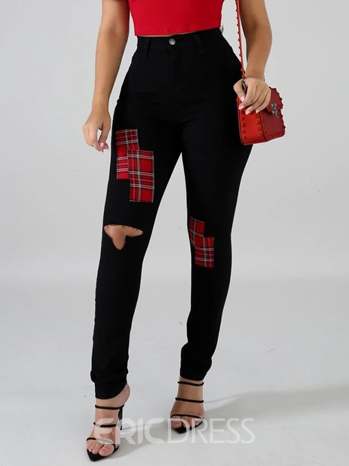 Ericdress Hole Color Block Pencil Pants Hole Skinny Jeans