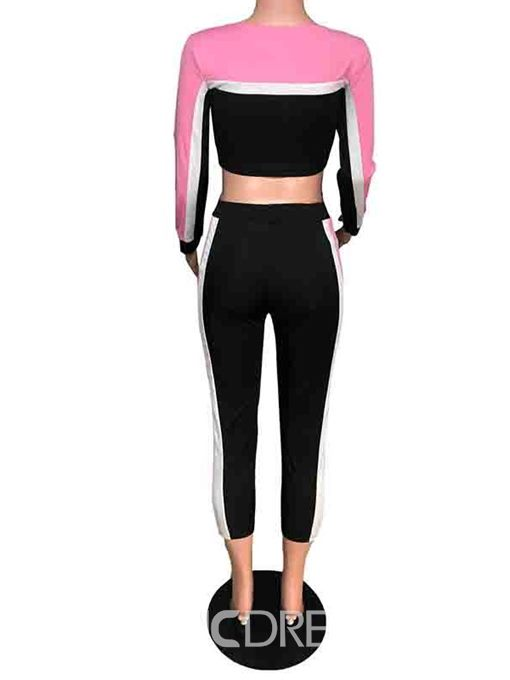 Ericdress Sports Mid-Calf Color Block Pencil Pants Pullover Two Piece Sets