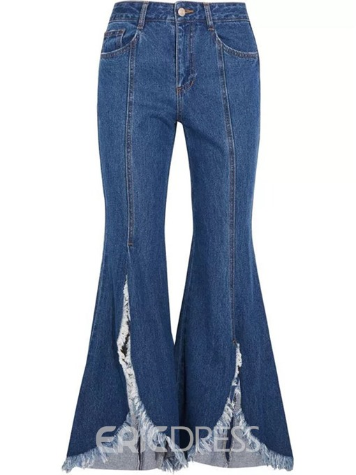 Ericdress Bellbottoms Washable Plain High Waist Slim Jeans