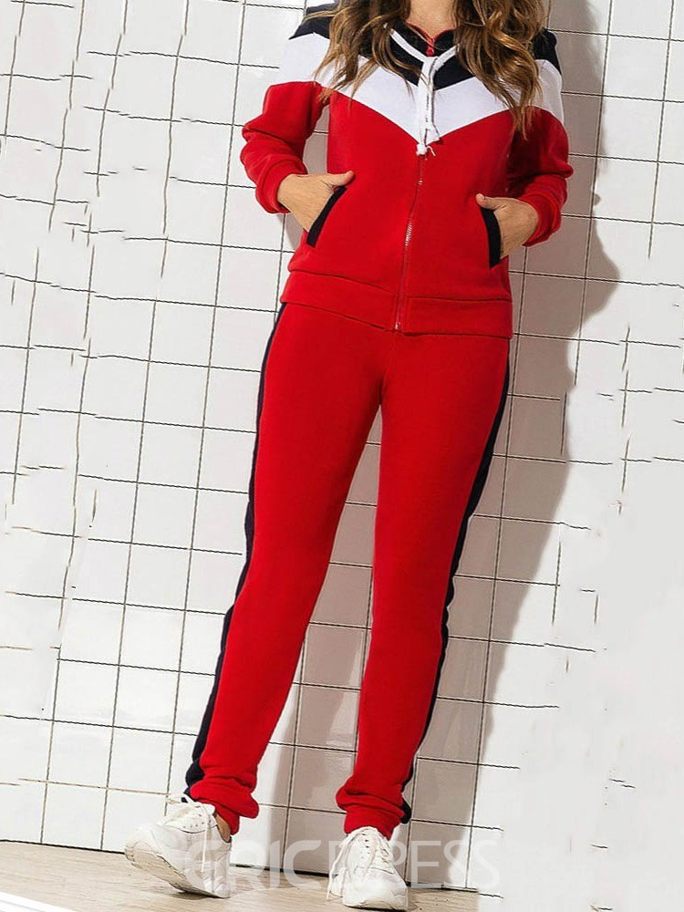 Ericdress Coat And Pencil Pants Sport Color Block Two Piece Sets