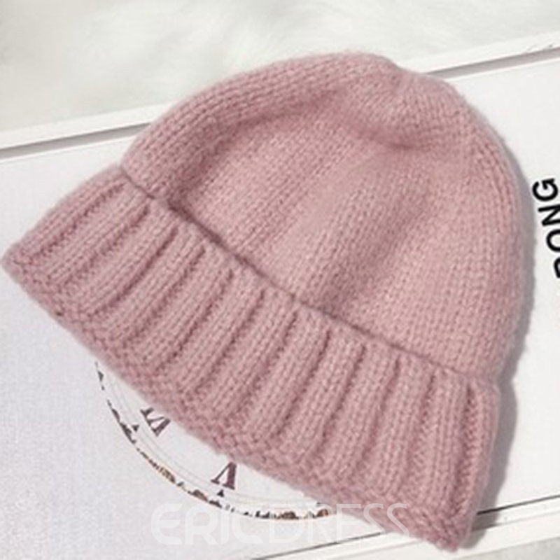 Ericdress Knitted Hat Hemming Plain Spring Hats
