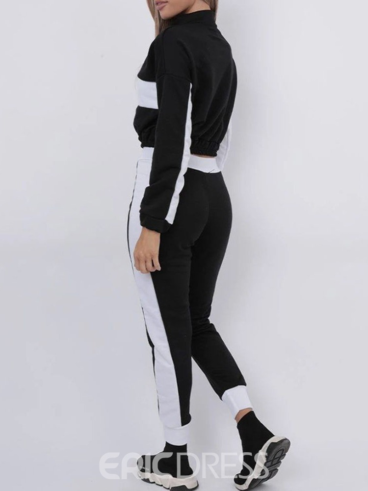 Ericdress Casual Color Block T-Shirt Two Piece Sets